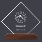 Diamond Acrylic Horse Show Award Trophy  w/ Walnut Base
