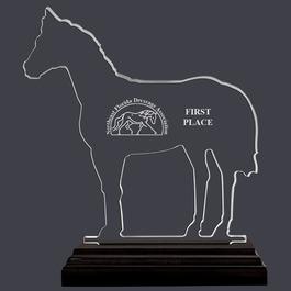 Engraved Horse Shaped Acrylic Horse Show Trophy w/ Black Base