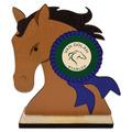 Horse Head Shape Birchwood Horse Show Trophy w/ Natural Birchwood Base