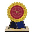 Rosette Shape Birchwood Horse Show Trophy w/ Natural Birchwood Base