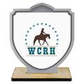 Shield Shape Birchwood Horse Show Award Trophy w/ Natural Birchwood Base