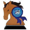 Horse Head Shape Birchwood Horse Show Award Trophy w/ Black Base