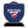 Shield Shape Birchwood Horse Show Award Trophy w/ Black Base