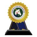 Rosette Shape Birchwood Horse Show Award Trophy w/ Black Base