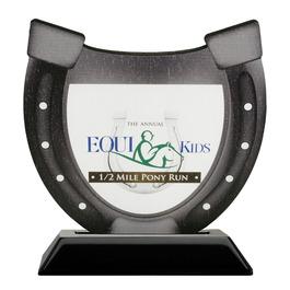 Horseshoe Shape Birchwood Horse Show Award Trophy w/ Black Base