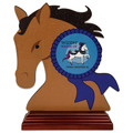 Horse Head Shape Birchwood Horse Show Award Trophy w/ Rosewood Base