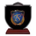 Shield Shape Birchwood Horse Show Award Trophy w/ Rosewood Base