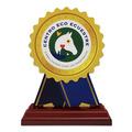 Rosette Shape Birchwood Horse Show Award Trophy w/ Rosewood Base