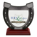 Horseshoe Shape Birchwood Horse Show Award Trophy w/ Rosewood Base