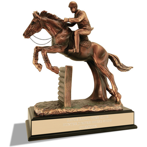 equestrian jumper resin trophy