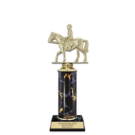 """10"""" Black Faux Marble Horse Show Award Trophy"""