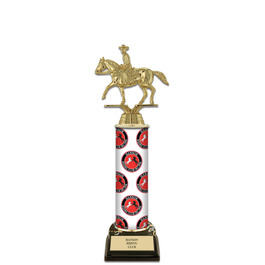 "12"" Black HS Base Horse Show Award Trophy w/ Custom Column"