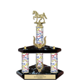 "15"" Black Finished Horse Show Trophy w/ Wreath & Trim"