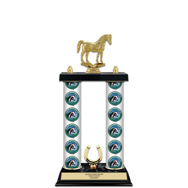 "15"" Black Finished Horse Show Award Trophy w/ Custom Column & Trim"