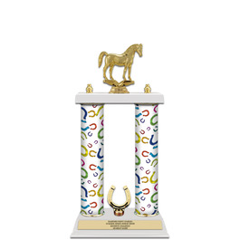 "15"" White Finished Horse Show Award Trophy w/ Trim"