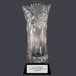 Elland Optical Crystal Horse Show Award Vase w/ Attached Base