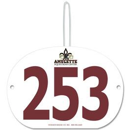Custom Large Oval Rider Number w/ Hook