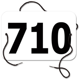Stock Small Rectangular Rider Number w/ String