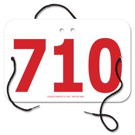 Large Rectangular Rider Number w/ String