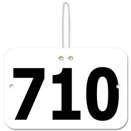 Stock Large Rectangular Rider Number w/ Hook