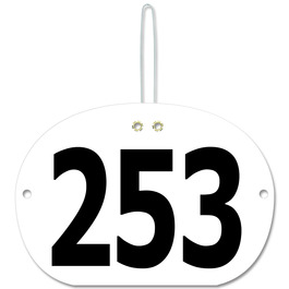 Stock Large Oval Rider Number w/ Hook