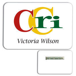 Classic White PVC Plastic Name Badge w/ Pin
