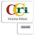 Classic White PVC Plastic Name Badge w/ Magnet