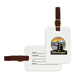 Rectangle Luggage Tags w/ Brown Leather Strap