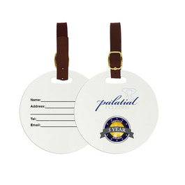 Round Luggage Tags w/ Brown Leather Strap