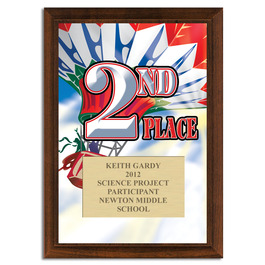 Full Color Second Place Plaque Cherry Finished