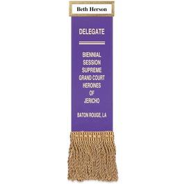 Hemmed Top Ribbon w/ Fringe and Gold ID Bar