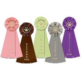 Stock Paw Print Rosette Award Ribbon