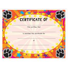 Full Color Stock School Certificates - Paws Design