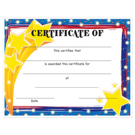 Full Color Stock School Certificates - Stars Design