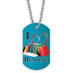 Full Color I Love Reading Dog Tag