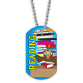Full Color Reading Owl Dog Tag