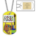 Personalized Art Dog Tag w/ Engraved Plate