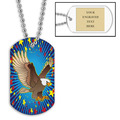 Personalized Eagle Dog Tag w/ Engraved Plate