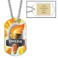 Personalized English Torch Dog Tag w/ Engraved Plate