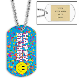 Personalized Happy Birthday Dog Tag w/ Engraved Plate