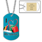 Personalized I Heart Reading Dog Tag w/ Engraved Plate