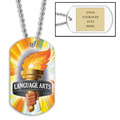 Personalized Language Arts Dog Tag w/ Engraved Plate