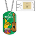 Personalized Music Dog Tag w/ Engraved Plate