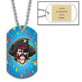 Personalized Pirate Dog Tag w/ Engraved Plate