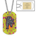 Personalized Panther Dog Tag w/ Engraved Plate