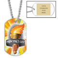 Personalized Principal's List Torch Dog Tag w/ Engraved Plate