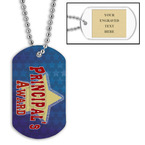 Personalized Principals Award Dog Tag w/ Engraved Plate