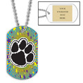 Personalized Paw Print Dog Tag w/ Engraved Plate