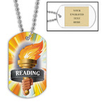 Personalized Reading Torch Dog Tag w/ Engraved Plate