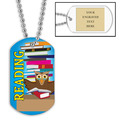 Personalized Reading Owl Dog Tag w/ Engraved Plate